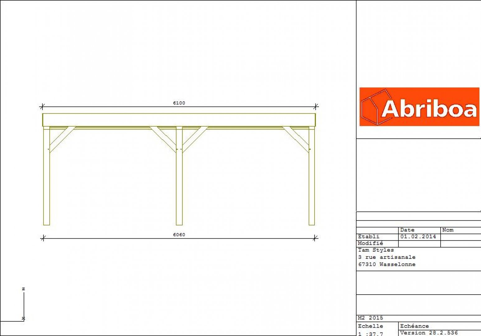 Abriboa abri carport toit plat 3 voitures vente en for Budget pour construction garage