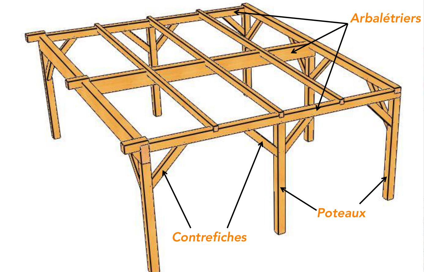 charpente pour abri bois avec toit plat vente en ligne d. Black Bedroom Furniture Sets. Home Design Ideas
